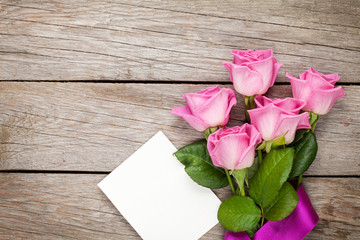 Pink roses and valentines day blank greeting card or photo frame
