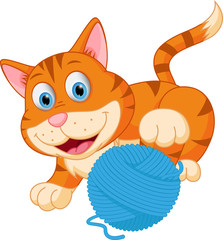 Cute cat playing with a ball