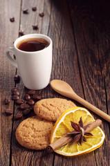 Oatmeal cookies and coffee