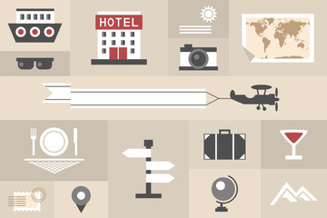 tourism and travel flat icons