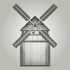 Illustration of vintage  windmill.