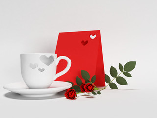 cup, roses, card on the white background,