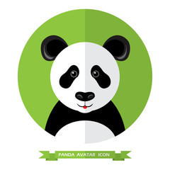 Flat Style Panda Bear Avatar Icon. Design Element.