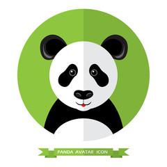 Flat Style Panda Bear Avatar Icon. Design Element.