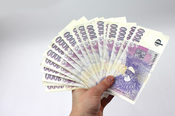 Czech money in hand, thousands
