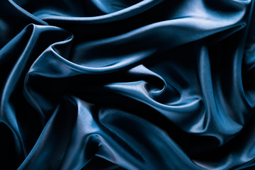 Fototapeta Abstract wave textile texture or background in blue color obraz