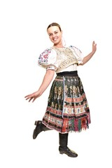 Young beautiful singer posing in traditional costume, slovakian