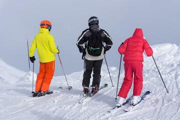Tourists in ski resort