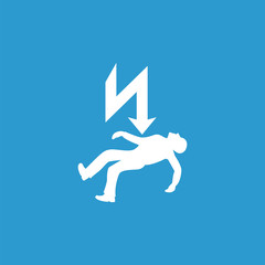 electrocution risk icon, isolated, white on the blue background.