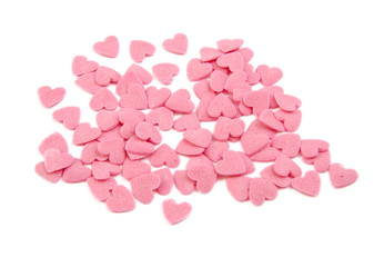Bunch of sugar hearts. Cake decoration. Valentine's Day concept.