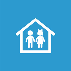 couple home icon, isolated, white on the blue background.
