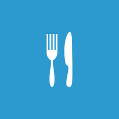 restaurant icon, isolated, white on the blue background.