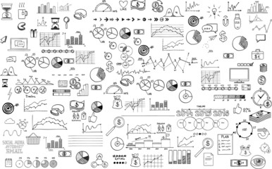 infographics collection hand drawn doodle sketch business