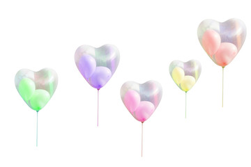 Heart shaped balloon on white