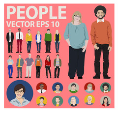 People Icon Set Multiethnic Group Diversity Vector Concept