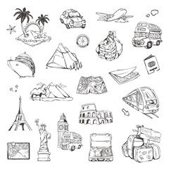 Travel, sketches of icons vector set