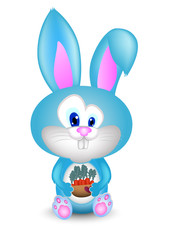 Rabbit and a bucket of carrot cartoon