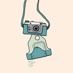 handdraw camera cartoon vector