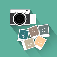 vintage camera and picture illustration, vector