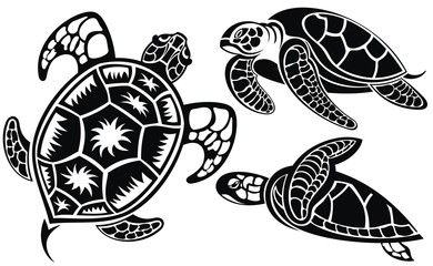Vector illustration of turtles