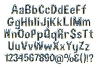 Complete alphabet digit numbers in metallic dark blue