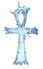 Egyptian cross Ankh made of water splash