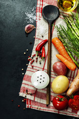 Wooden spoon and ingredients
