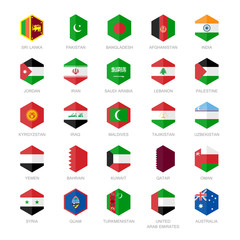 Asia middle east and south Asia Flag Icons. Hexagon Flat Design.