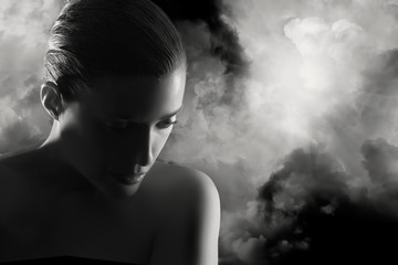 Moody atmospheric portrait of a young woman. Mistery Woman