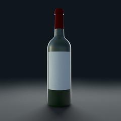 Bottle of wine isolate on black background