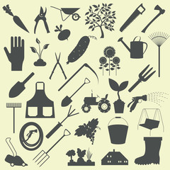 Garden work icon set. Working tools