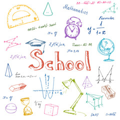 Back to school. Hand drawn school items.