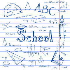 Back to school. Lined paper background.
