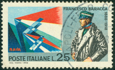 stamp printed in the Italy show Major Francesco Baracca