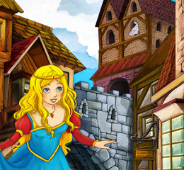 Cartoon fairy tale illustration princess in town