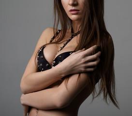 Sexy sensual girl with big natural tits posing on camera