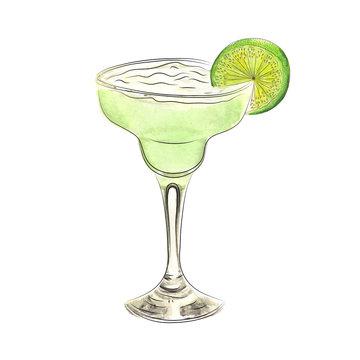 Watercolor doodle margarita cocktail