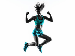 Fototapete - woman fitness jumping  exercises silhouette