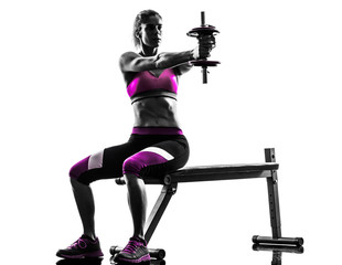 Fototapete - woman fitness  exercises  weights body building silhouette