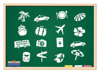 tourism icons blackboard Vector