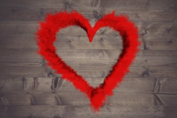 Wall Mural - Composite image of red smoke heart