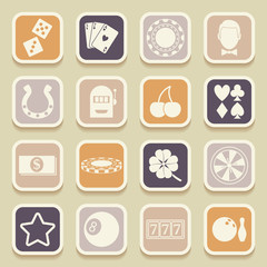 Casino universal icons for web and mobile applications. Vector