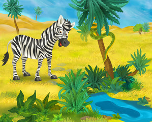 Cartoon scene - wild Africa animals - zebra - illustration for the children
