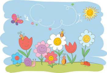 Hello Spring cute greeting card.