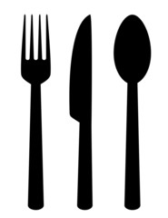 set of isolated cutlery icons