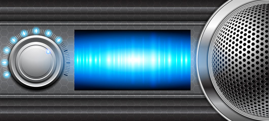 Metallic background with volume control and speaker