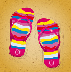 Beach slippers on sand. Illustration 10 version
