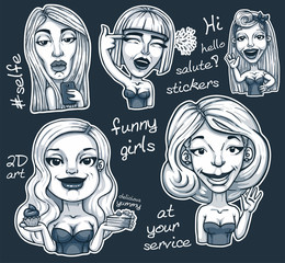 set of stickers funny girls