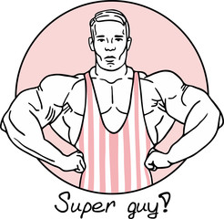 bodybuilder in a striped pink circle