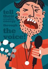 singer on stage portrait poster